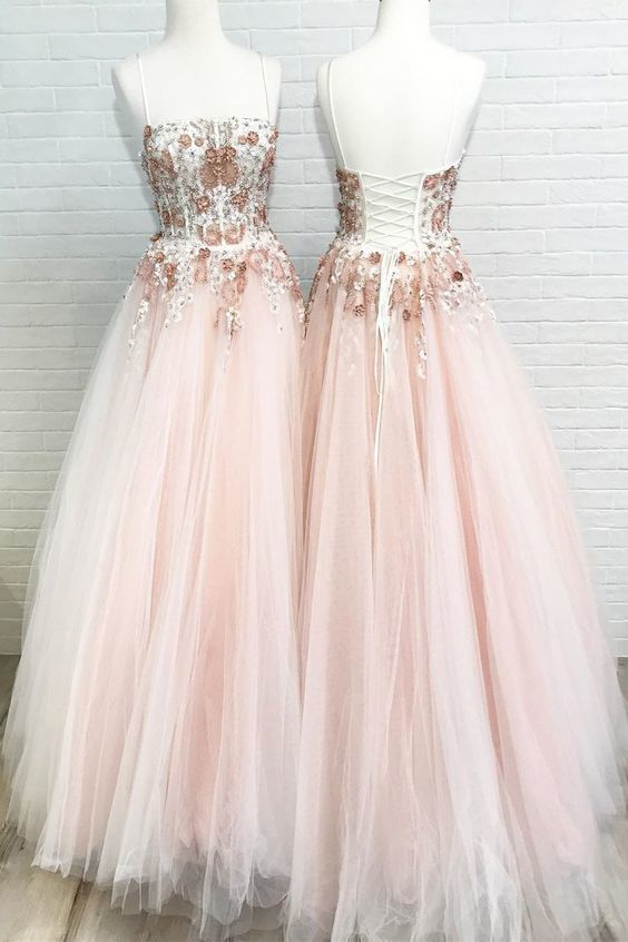 Lace-Up Sequined Pink Long Prom Dress