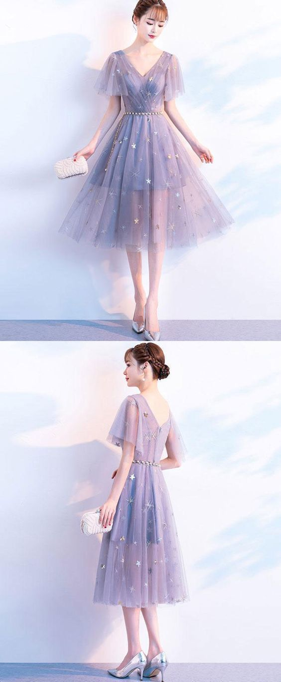Cute v neck tulle short prom dress, tulle homecoming dress