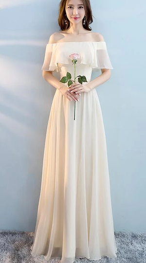 Beautiful Chiffon Light Champagne Long Bridesmaid Dress, Mismatch Bridesmaid Dress