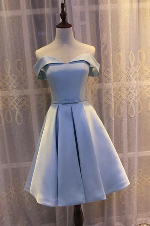 Light Blue Off Shoulder Satin Bridesmaid Dress, Blue Short Formal Dress