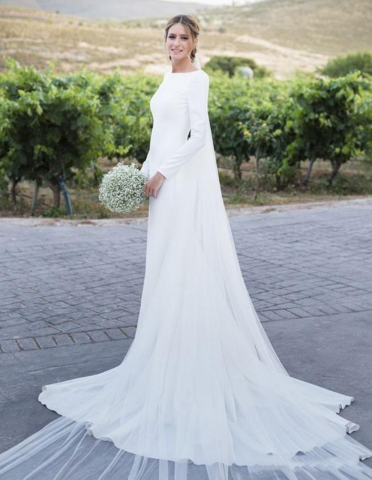 2020 Simple Sheath Crew Neck Long Sleeves White Long Backless Wedding Dresses