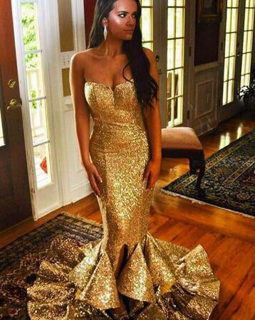 Gold Sequence Sweetheart Trumpet/Mermaid 2020 Prom Dresses