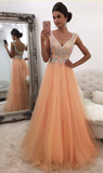 Cheap A-Line/Princess Tulle Organza V Neck 2020 Prom Dresses
