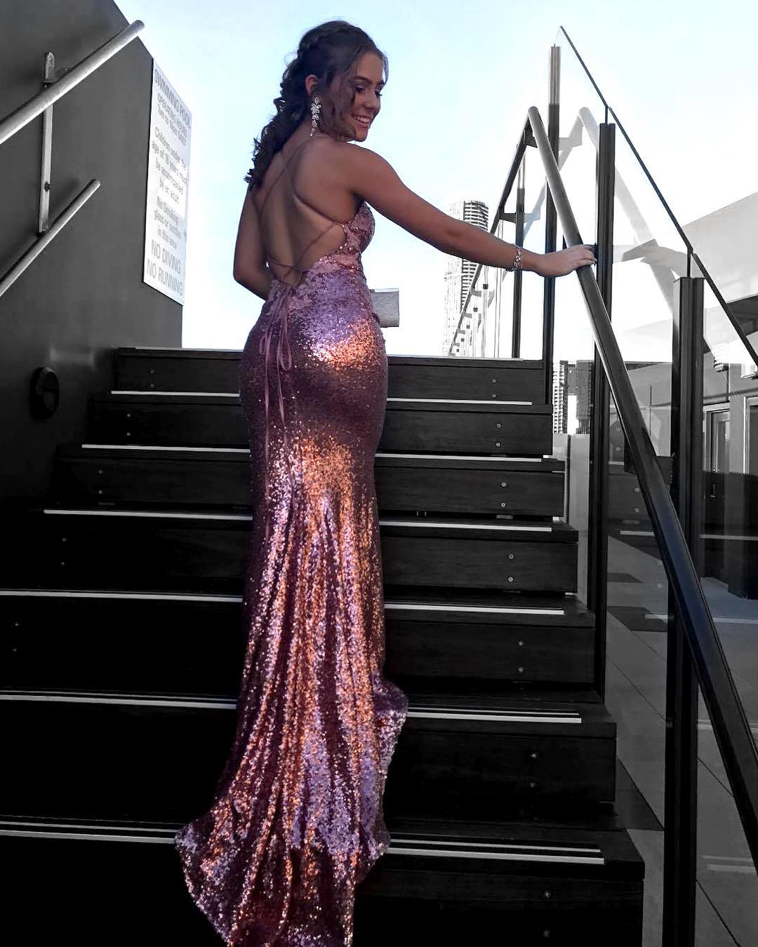 Charming Sequence Backless 2020 Dusty Rose Prom Dresses