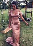 2020 Charming Sheath Dusty Rose Sweetheart Prom Dresses