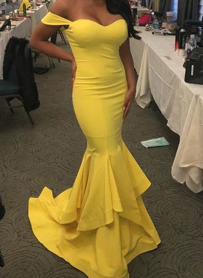 Sexy Trumpet/Mermaid Sweetheart Daffodil Prom Dresses 2020