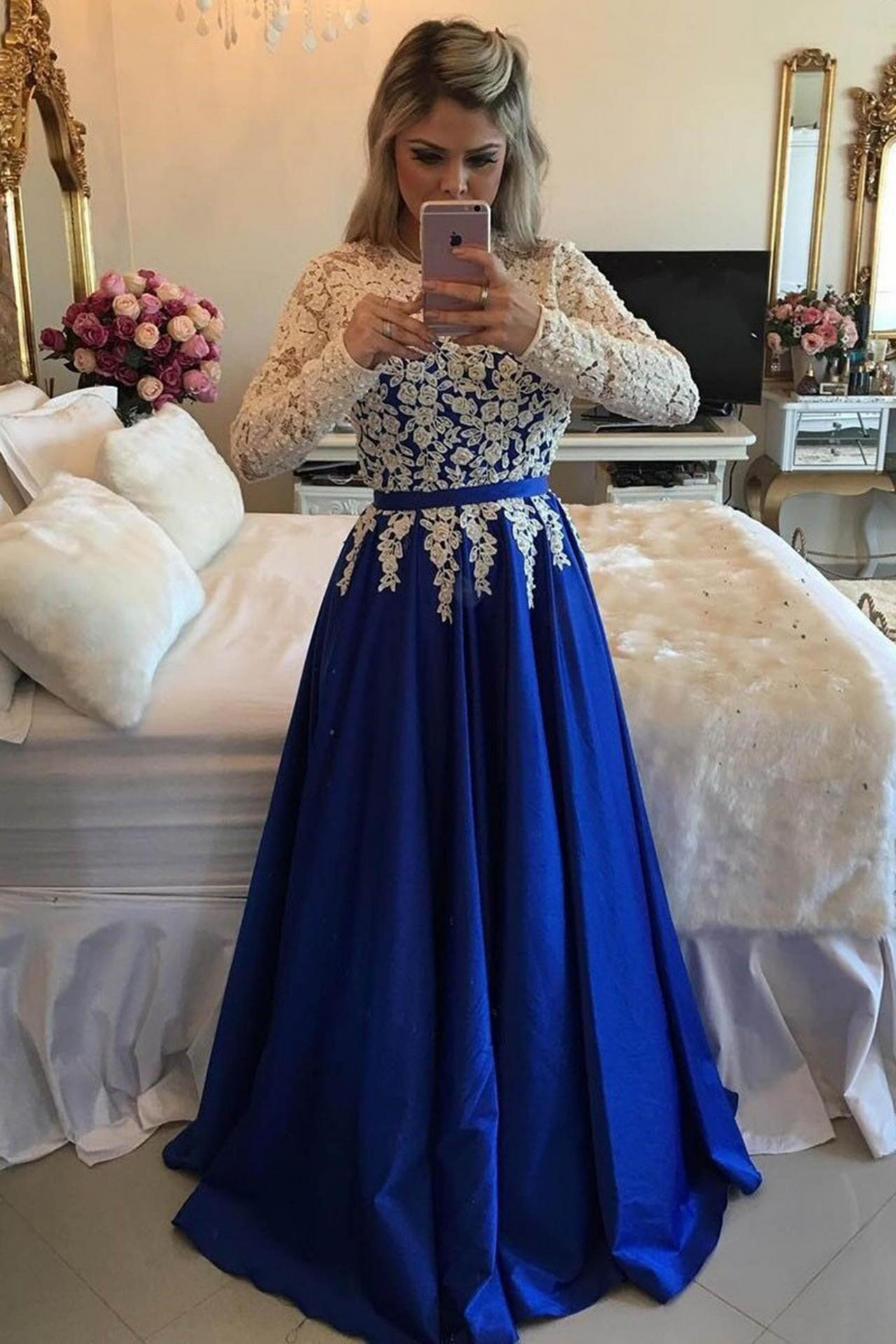 2020 New Arrival A-Line/Princess Satin Royal Blue With White Appliques Long Sleeves Prom Dresses