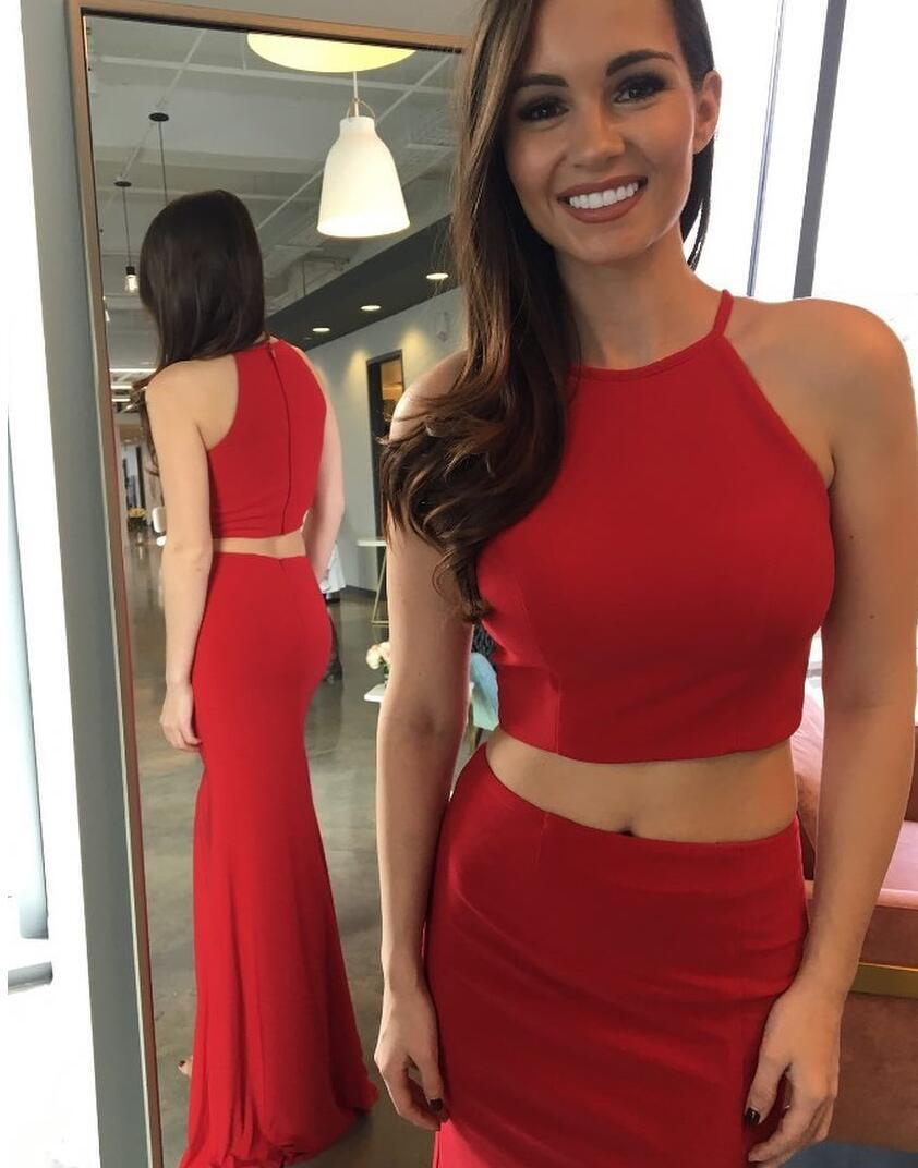 2020 Charming Sheath Satin Red Two Pieces Prom Dresses