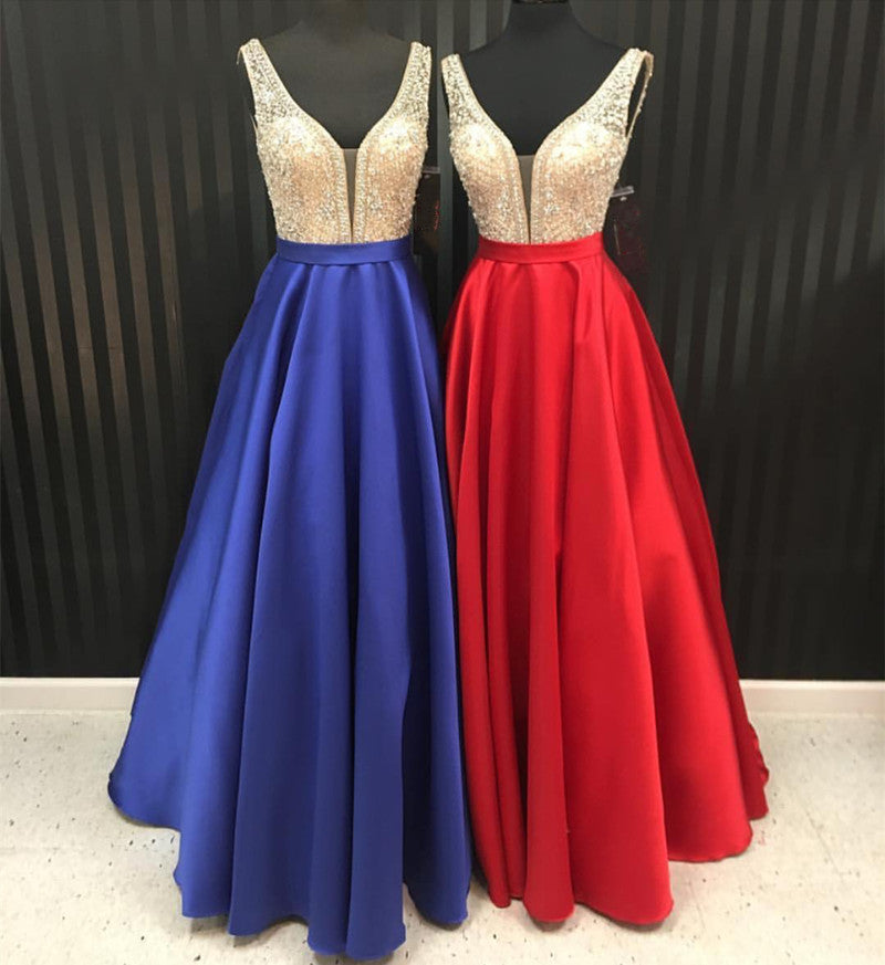 Cheap Satin A-Line/Princess Red Beaded 2020 Prom Dresses
