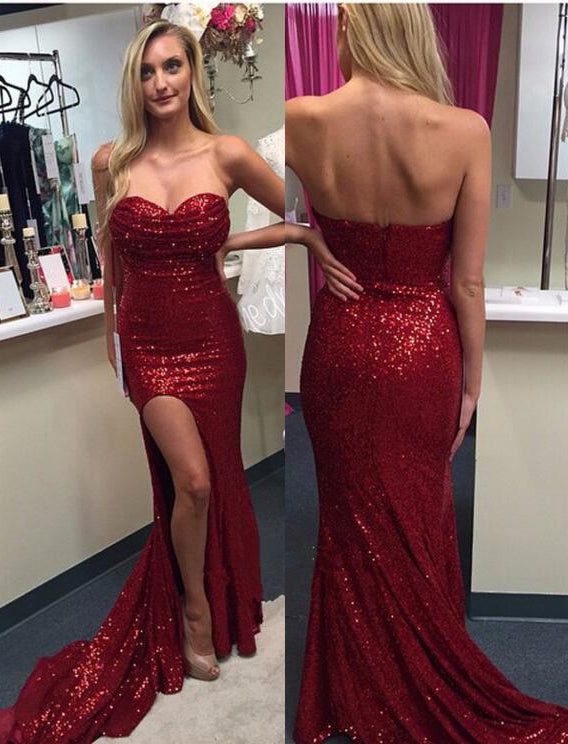 2020 Siren Red Column/Sheath Side Slit Sweetheart Sequence Prom Dresses