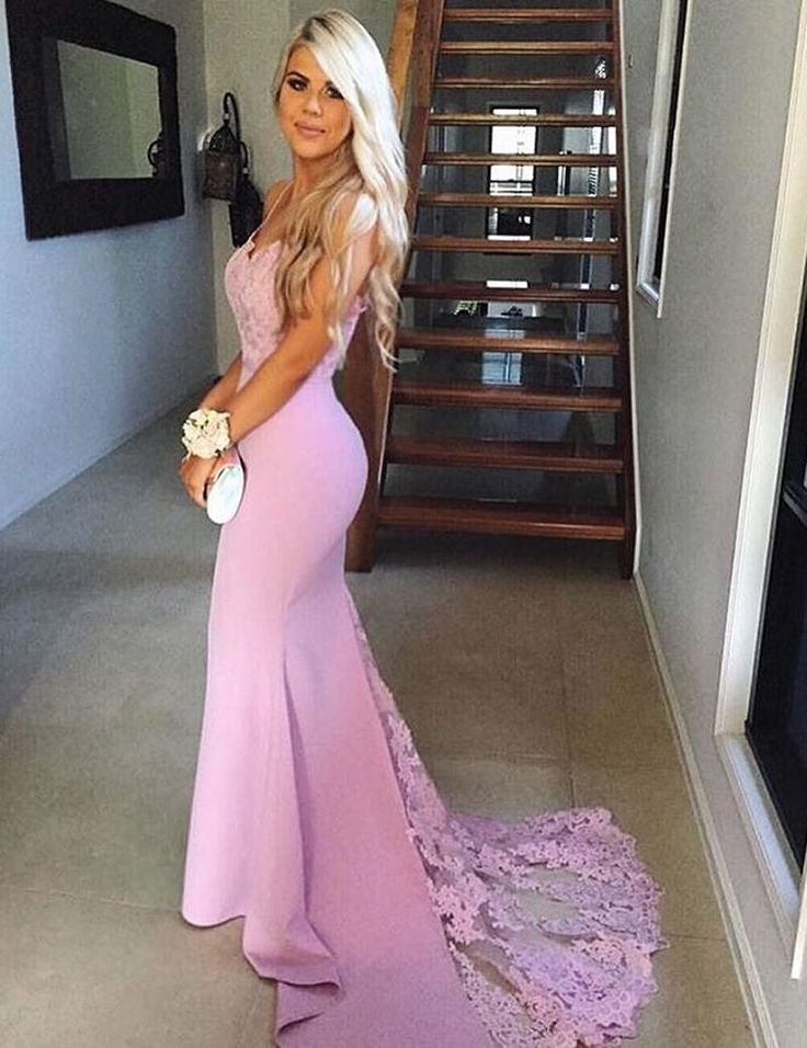 2020 Trumpet/Mermaid Pink Sexy Sweetheart Prom Dresses Lace