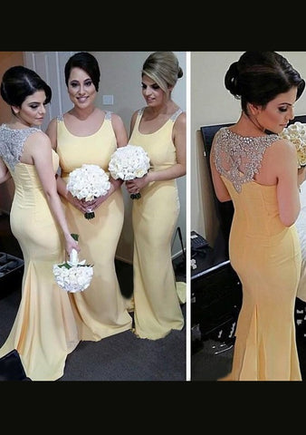 Chiffon Bridesmaid Dresses / Gowns Sheath/Column Scoop Neck Sweep Train With Beaded