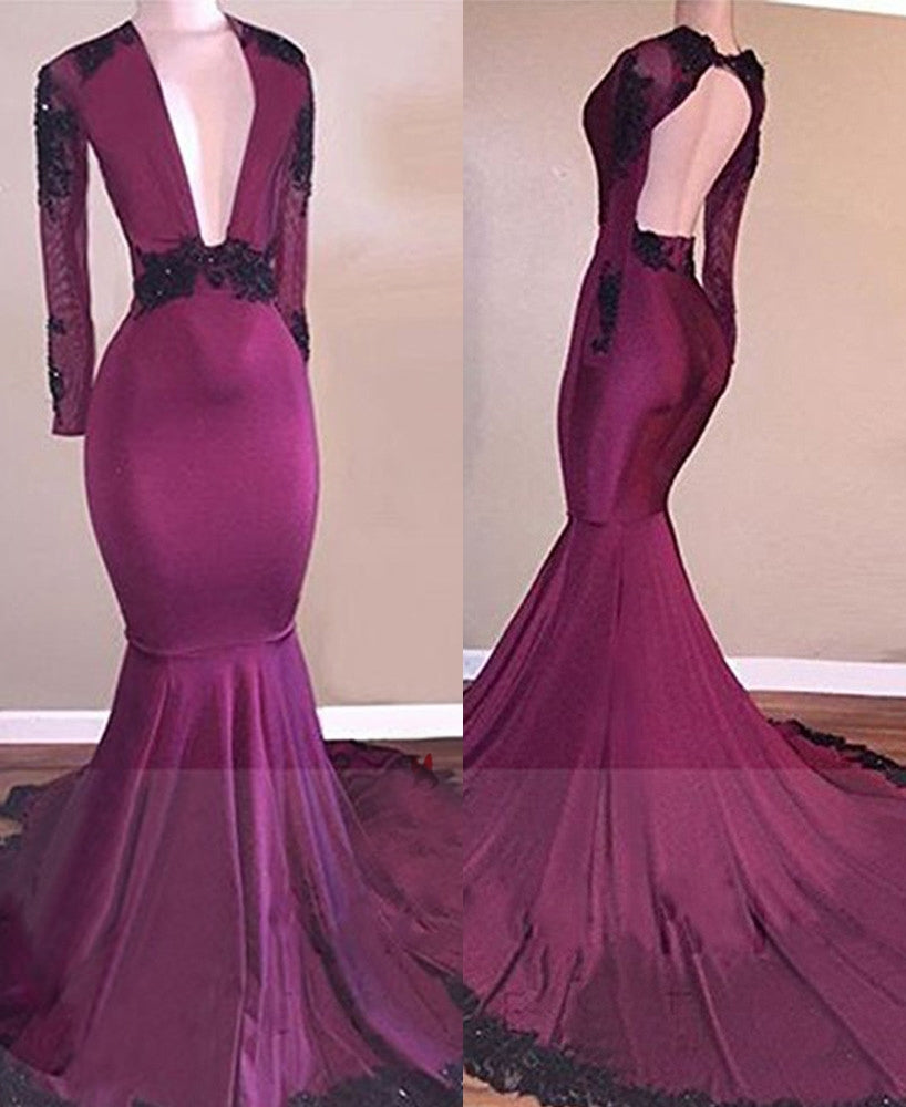 2020 Fuchsia Deep V Long Sleeves Mermaid Prom Dresses