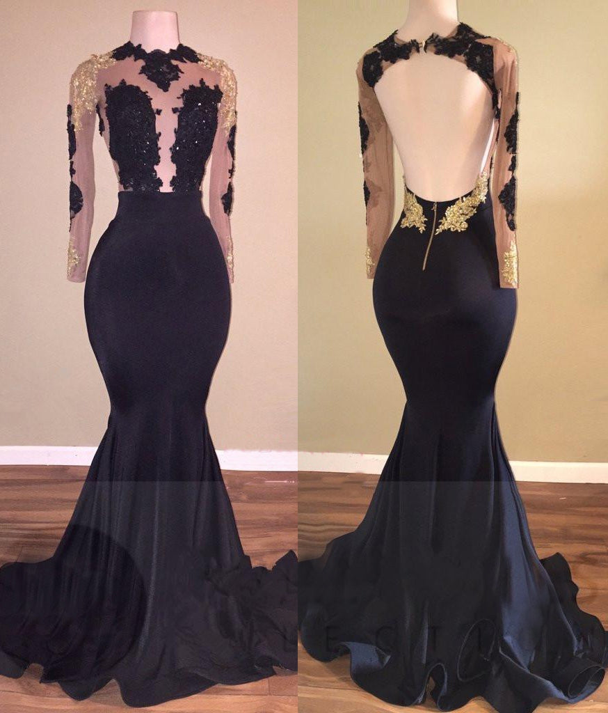 2020 Black Mermaid Backless Long Sleeves Prom Dresses