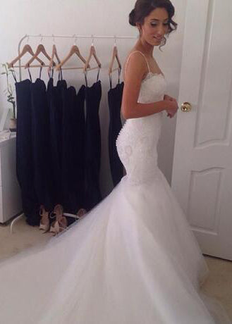 Charming Mermaid Sweetheart Spaghetti Straps Tulle Wedding Dresses 2020