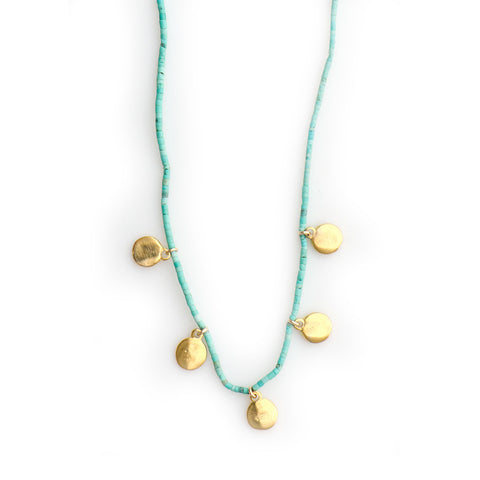 263NLT - TINY DISC CHARM NECKLACE ON 1MM NATURAL TURQUOISE HEISHI