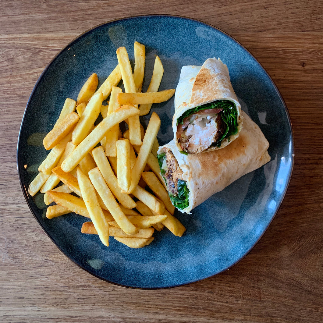 Halloumi and Avo Wrap and Fries