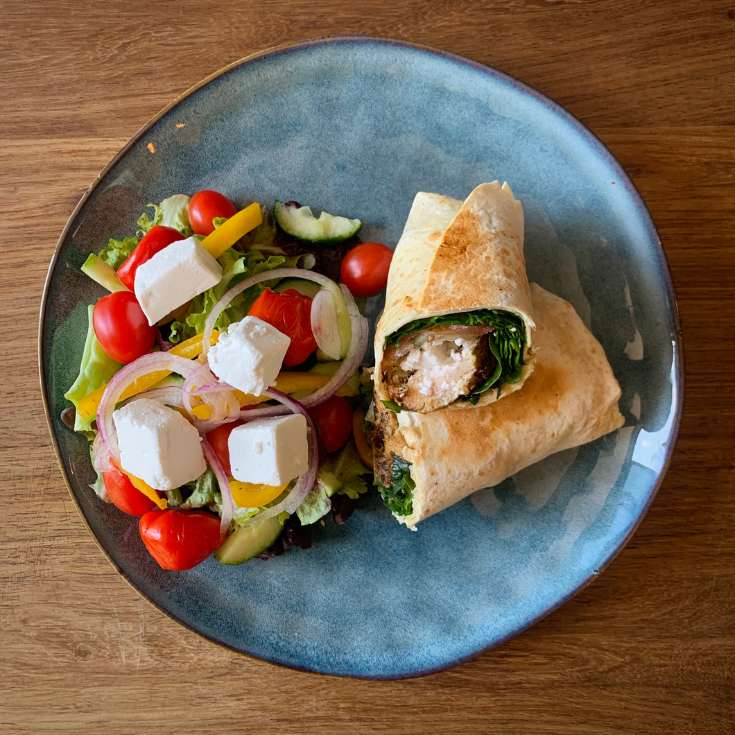 Grilled Chicken Wrap and Salad