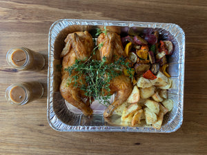 Roast chicken, potatoes and veggies