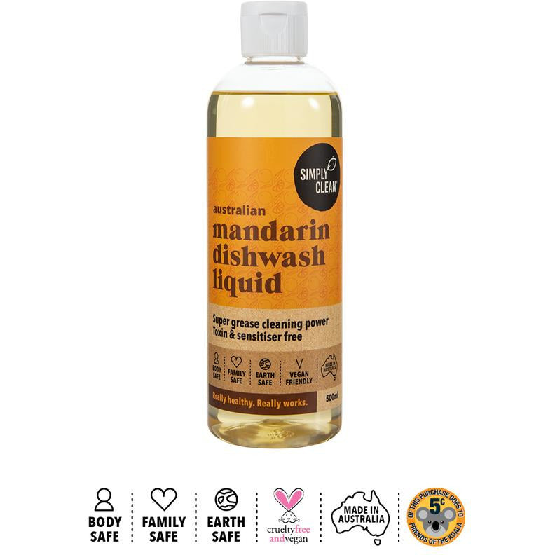 Simply Clean Australian Mandarin Dishwash Liquid - The Conscious Spender