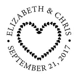hearts wreath wedding stamp