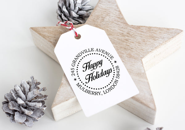Stamp - Happy Holidays Address