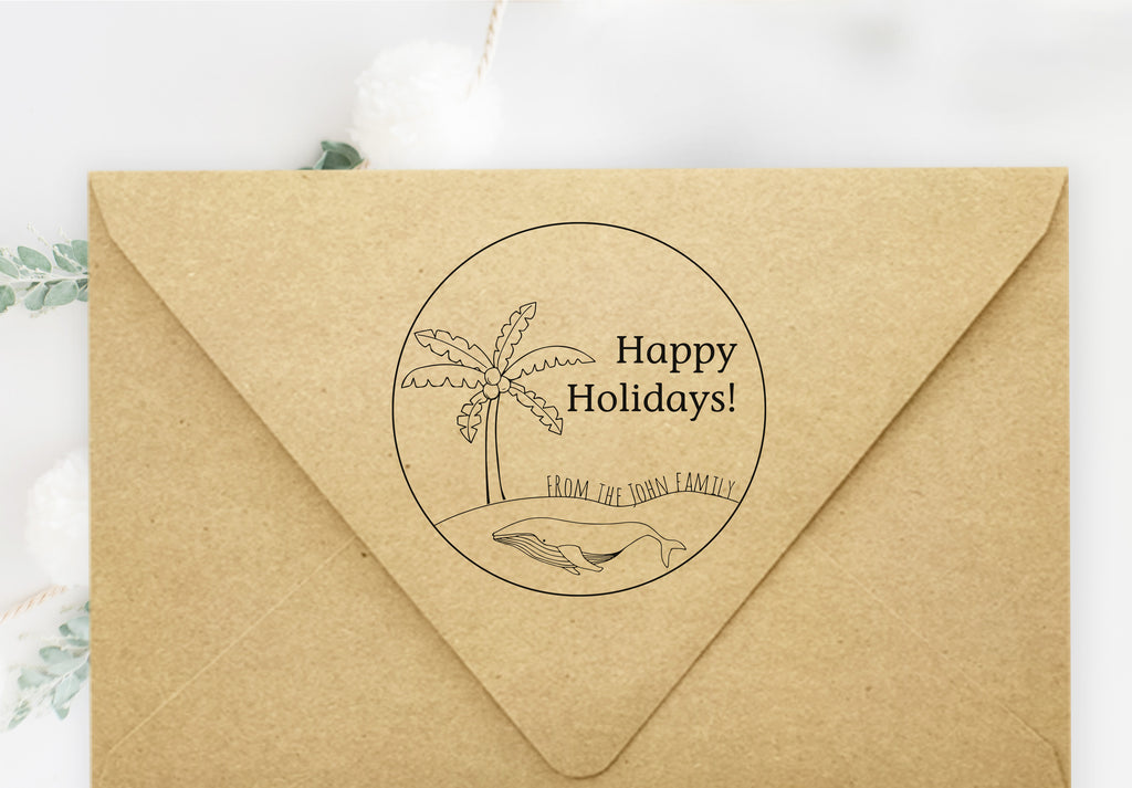 Stamp - Happy Holidays Palm Tree
