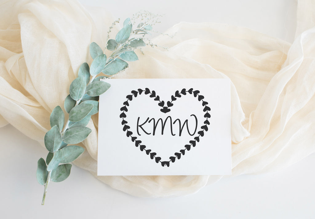 Stamp - Hearts Wreath Monogram