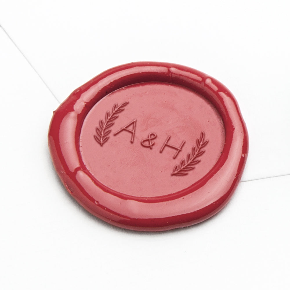 Wax Seal - Initials with Leaves