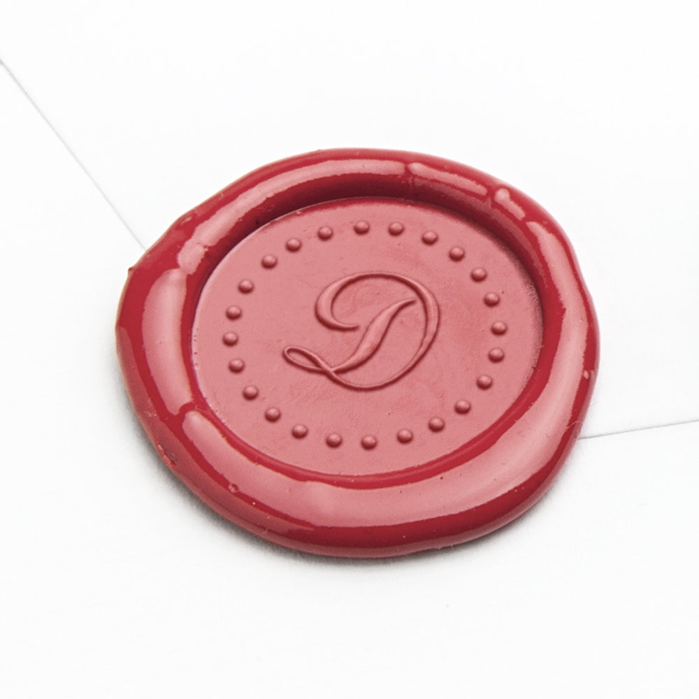 Wax Seal - Dotted Circle Script Initial