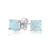 Opal Created 6mm Stud Earring 14K White Gold Plated