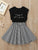 Toddler Girls Slogan & Stripe Print Skater Dress