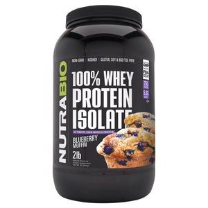 100% Whey Protein Isolate [907g] Whey Isolate NutraBio Blueberry Muffin