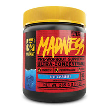 Load image into Gallery viewer, Madness [225g] Stimulant Based Pre-Workout Mutant Blue Raspberry