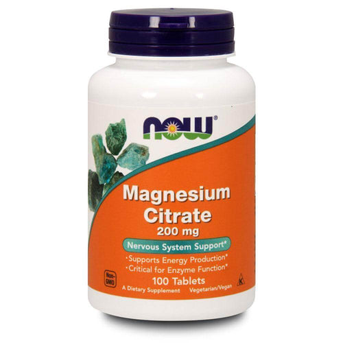 Magnesium Citrate 200mg [100 Tabs] Magnesium NOW Foods