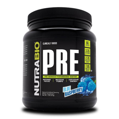 PRE Workout V5 [550g] Stimulant Based Pre-Workout NutraBio Blue Raspberry