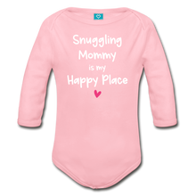 Load image into Gallery viewer, Snuggling Mommy is my Happy Place Organic Long Sleeve Baby Bodysuit - light pink