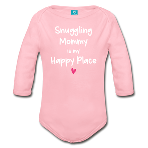 Snuggling Mommy is my Happy Place Organic Long Sleeve Baby Bodysuit - light pink
