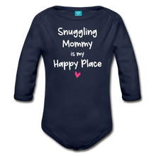 Load image into Gallery viewer, Snuggling Mommy is my Happy Place Organic Long Sleeve Baby Bodysuit - dark navy