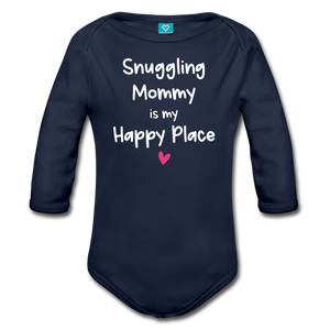 Snuggling Mommy is my Happy Place Organic Long Sleeve Baby Bodysuit - dark navy