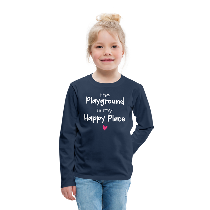 Playground Happy Place Kids' Premium Long Sleeve T-Shirt - navy