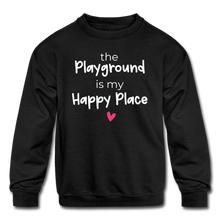 Load image into Gallery viewer, Playground Happy Place Kids' Crewneck Sweatshirt Black and Green - black