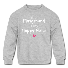 Load image into Gallery viewer, Playground Happy Place Kids' Crewneck Sweatshirt Black and Green - heather gray