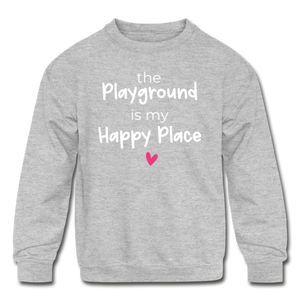 Playground Happy Place Kids' Crewneck Sweatshirt Black and Green - heather gray