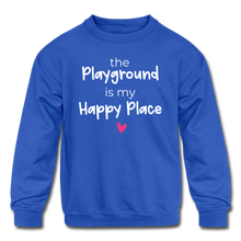 Load image into Gallery viewer, Playground Happy Place Kids' Crewneck Sweatshirt Black and Green - royal blue