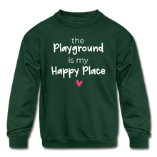 Load image into Gallery viewer, Playground Happy Place Kids' Crewneck Sweatshirt Black and Green - forest green