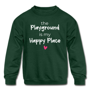 Playground Happy Place Kids' Crewneck Sweatshirt Black and Green - forest green