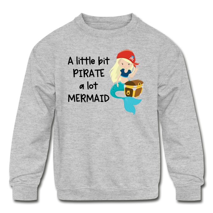 Mermaid Pirate Girls Sweatshirt - heather gray