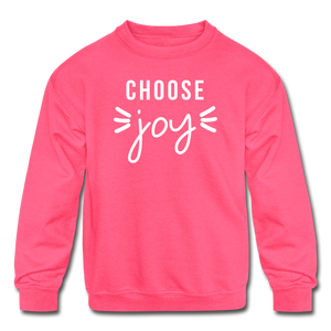 Choose Joy Kids' Crewneck Sweatshirt - neon pink