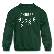 Load image into Gallery viewer, Choose Joy Kids' Crewneck Sweatshirt - forest green